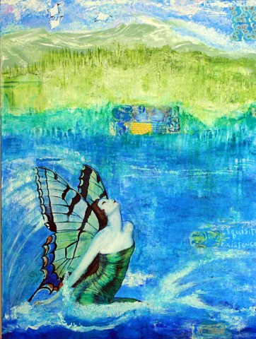 Ifigenia-abstract-acrylic-painting-turquoise-butterfly-harpers-bazaar