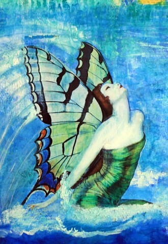 Ifigenia-abstract-acrylic-painting-turquoise-butterfly-harpers-bazaar1